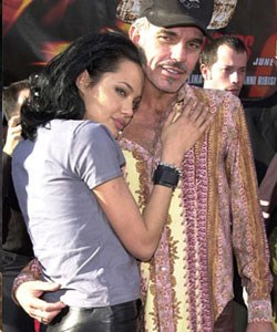 Infamous for her off-screen romances with co-stars, Angelina's short-lived marriage to second husband Billy Bob Thorton (she was first married to Jonny Lee Miller) was often in the media, with claims they would wear vials of each other's blood around their necks.
