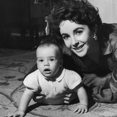 Elizabeth Taylor with her son Michael Wilding Jnr.  Photo by Keystone/Getty Images