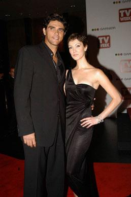 Delta has been involved in several high profile relationships including dating Australian tennis champion Mark Philippoussis. The couple are at the 46th TV Week Logie Awards in 2004.