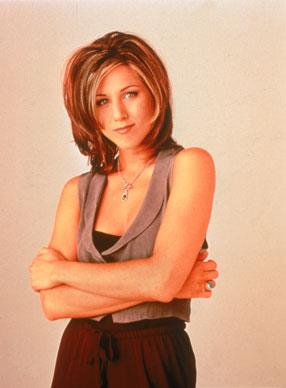 Jen poses as part of promotions for *Friends* — the television show which sky-rocketed her to global fame.