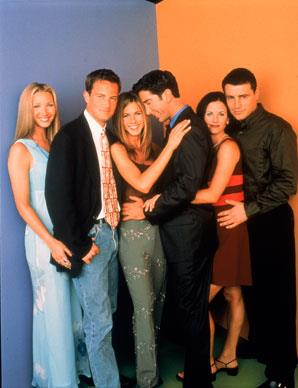 Jen with fellow cast members of *Friends*. From left to right: Lisa Kudrow, Matthew Perry, Jennifer Aniston, David Schwimmer, Courteney Cox, and Matt LeBlanc.