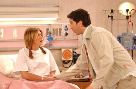 Jennifer Aniston and *Friends* co-star David Schwimmer on the set. The series received 11 Emmy nominations, including Outstanding Comedy Series by the Academy of Television Arts and Sciences in 2002.