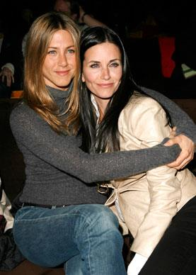 Friends on and off the set, Jennifer and Courteney Cox catch up at *The Tripper* Los Angeles Premiere.