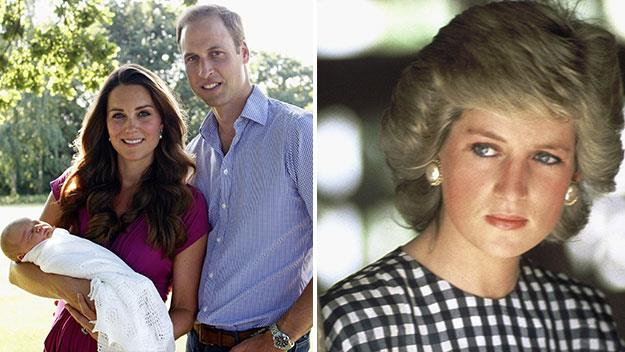 William, Kate and baby George and William's late mother Princess Diana.