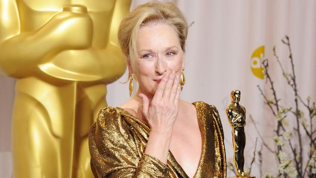 Meryl Streep with her best actress Oscar.