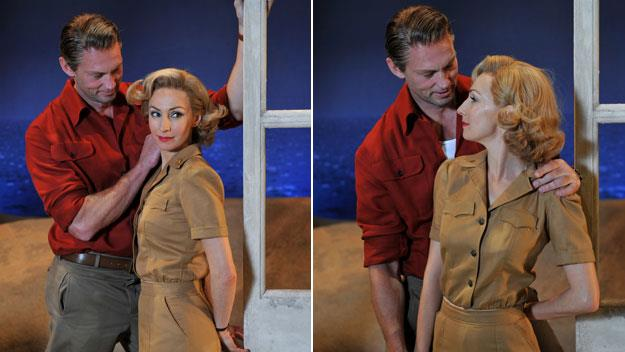 Lisa McCune and Teddy Tahu Rhodes on the set of South Pacific