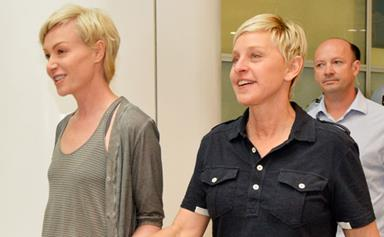 Ellen DeGeneres and Portia de Rossi arrive in Australia