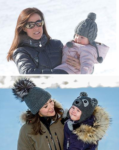 With their daughters at the snow.