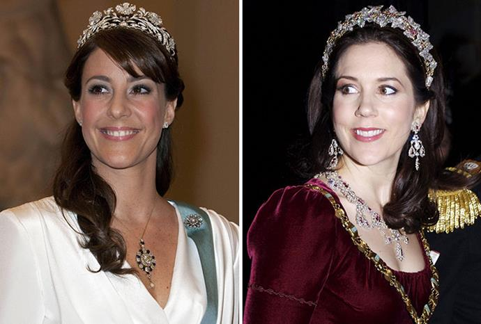 "[Long brown locks](https://www.nowtolove.com.au/royals/international-royals/princess-mary-opens-up-about-losing-her-mum-so-young-3154|target=""_blank"") and tiaras."