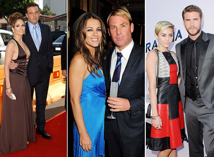 Jennifer Lopez and Ben Affleck, Liz Hurley and Shane Warne, Miley Cyrus and Liam Hemsworth