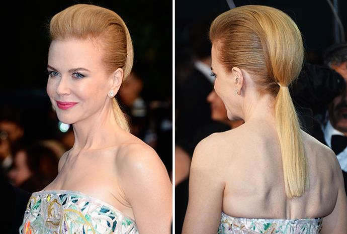 Nicole got crucified for this faux-Mohican look at Cannes in 2013.