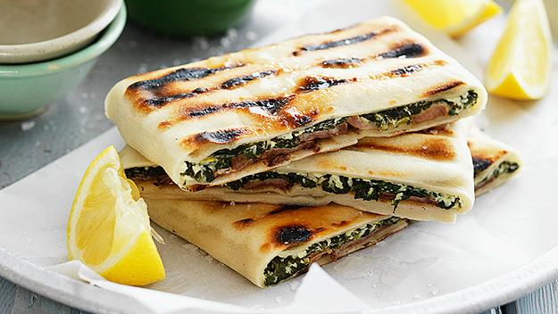 Lamb, cheese and spinach gozleme