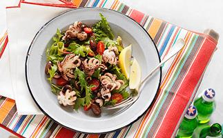 Warm octopus and olive salad