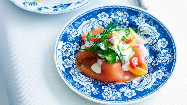"**[Smoked salmon and cucumber salad](https://www.womensweeklyfood.com.au/recipes/smoked-salmon-and-cucumber-salad-15828 target=""_blank"")**"
