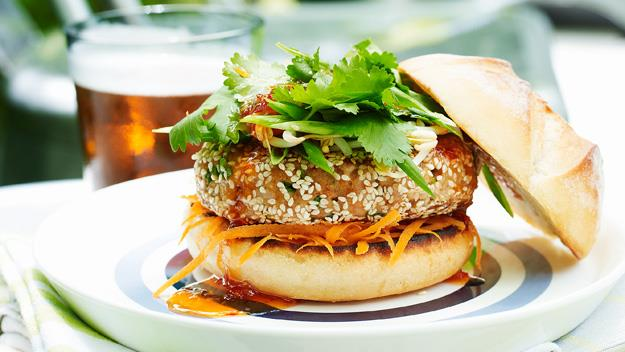 "**[Pork and sesame burgers](https://www.womensweeklyfood.com.au/recipes/pork-and-sesame-burgers-17019|target=""_blank"")** Be a little adventurous with your burger this time. Replace beef with pork and tomato sauce with sweet chilli for an exciting new take on a classic dish."