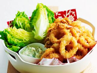 Crumbed squid with tartare sauce and salad