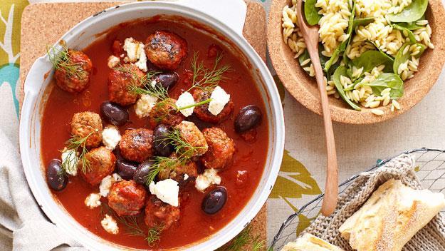 "**[Greek-style meatballs in tomato sauce](https://www.womensweeklyfood.com.au/recipes/greek-style-meatballs-in-tomato-sauce-20044 target=""_blank"")**"