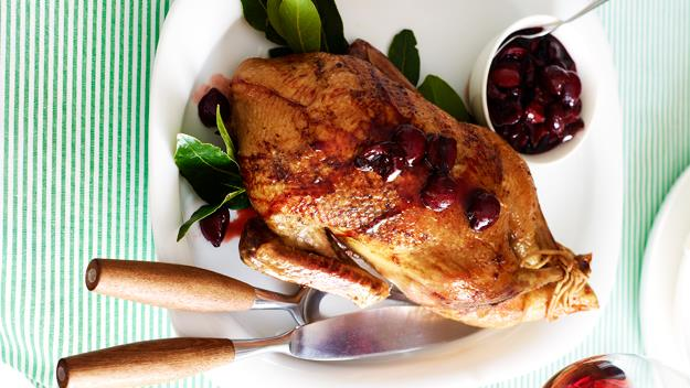 "**[Roast duck with cherry sauce](https://www.womensweeklyfood.com.au/recipes/roast-duck-with-cherry-sauce-20047|target=""_blank"")**"