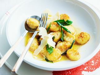 Hand-made gnocchi with butter and sage