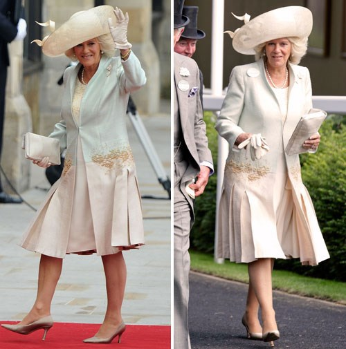 Camilla recycled her royal wedding outfit to wear to Ascot weeks later.