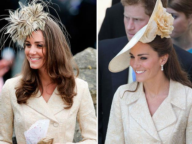 Kate at Laura Parker Bowles' wedding in 2006 and at Zara Phillips' wedding in 2011.