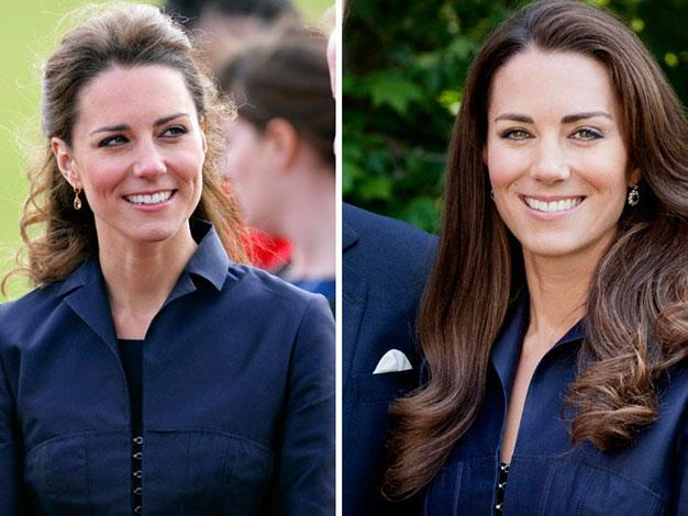 Kate at an engagement in 2011 and in an official portrait for her Canada tour.