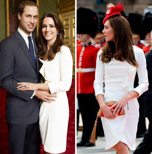 Kate recycled her cream engagement dress in Canada in 2011.