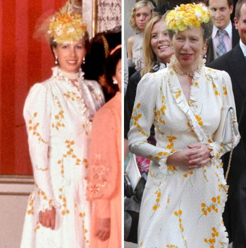 Princess Anne at Charles and Diana's 1981 wedding, and at another wedding in 2008.