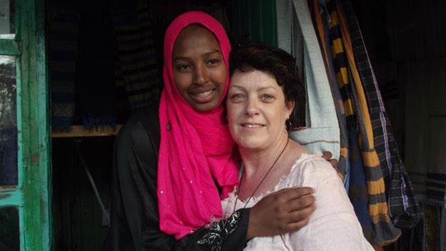 Sharon Sandy with a woman named Samira on her recent trip to the Sudan.