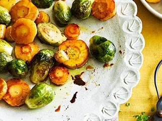 Glazed parsnips and Brussels sprouts