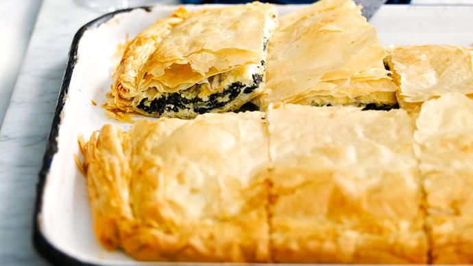 "**[Spanakopita](https://www.womensweeklyfood.com.au/recipes/spanakopita-23947|target=""_blank"")**  You'll love this traditional Greek pie."