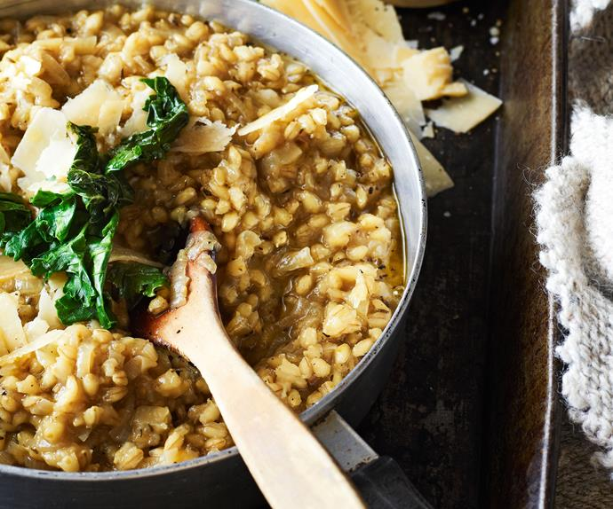 Barley Risotto with Wilted Kale