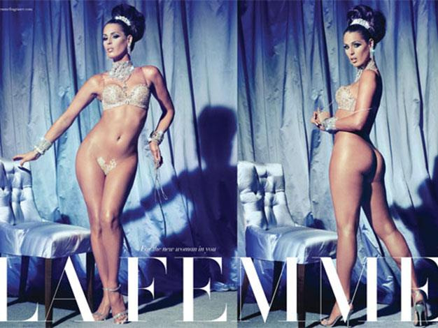 Transgender model Carmen Carerra in a risque ad for La Femme fragrance.