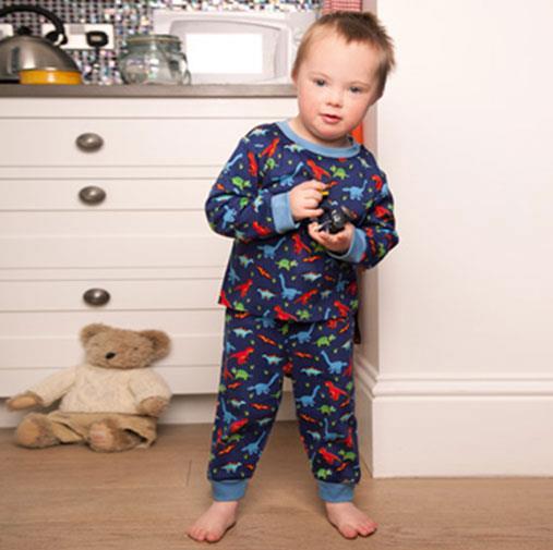 Seb White, who has Down syndrome, modelling pyjamas for JoJo Maman Bebe.