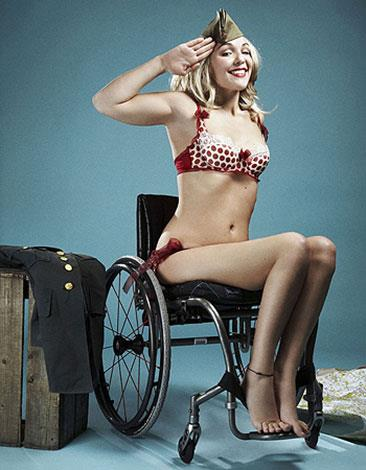 Sophie Morgan models from her wheelchair.