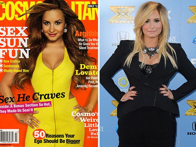 Teen queen Demi Lovato was dramatically slimmed by US Cosmopolitan.