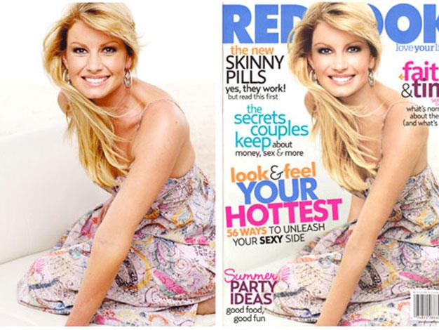 Redbook magazine dramatically slimmed country singer Faith Hill's arm in this shot.