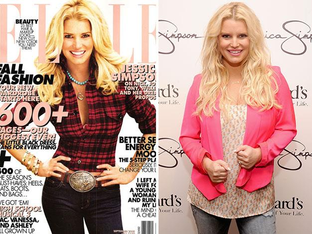 Elle shaved inches off Jessica Simpson's physique.