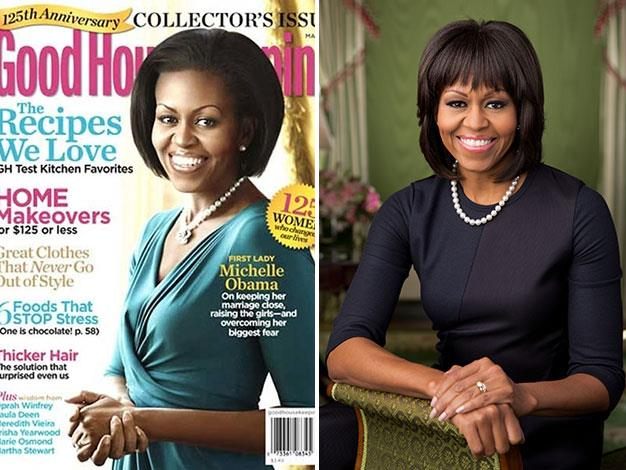 Good Housekeeping also appears to have crudely pasted Michelle Obama's head from one body shot to another.