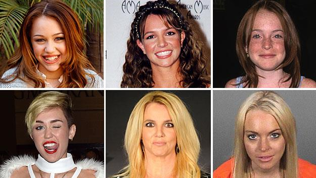 Miley Cyrus, Britney Spears and Lindsay Lohan.