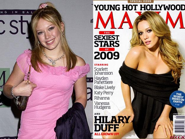 Lizze McGuire star Hilary Duff broke free from her squeaky clean image by posing for provocative photo shoots in Us Weekly, Shape and Maxim (right).