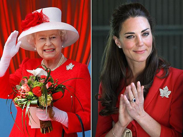 The royal family like to share this maple leaf brooch on visits to Canada.