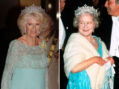 Royal hand-me-downs: Camilla wears the Queen Mother's jewels