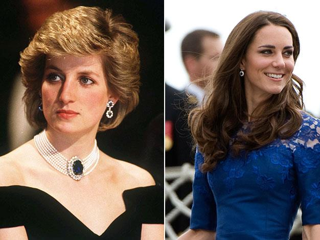 Diana frequently wore these blue sapphire earrings, it has been speculated that a similar pair Kate often wears are a customised version of Diana's.