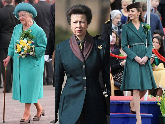 The Queen Mother wore shamrock brooch when greeting Irish guards on St Patricks Day. Princess Anne and now Kate have continued the tradition.