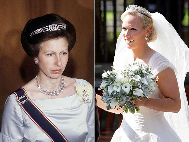 "Princess Zara's ""something borrowed"" was her mother Princess Anne's tiara."