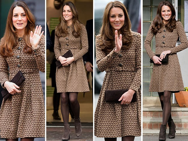 Kate was spotted wearing the same coat.