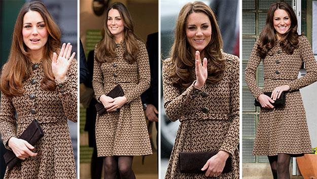 The Duchess of Cambridge yesterday and in 2012.