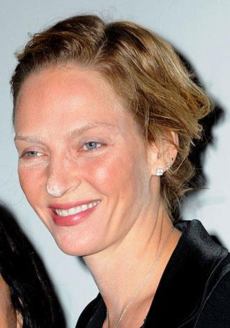 Uma Thurman appeared to have got distracted while powdering her nose in October 2010.