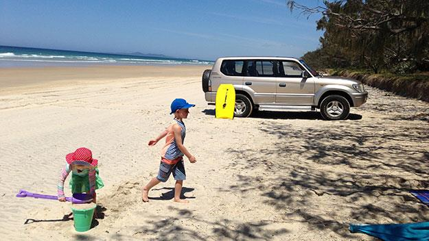 Impromptu picnics on a deserted stretch of beach alongside the Great Sandy National Park north of Noosa.